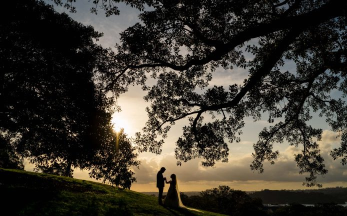 Observatory Hill Wedding Bride and Groom Sunset