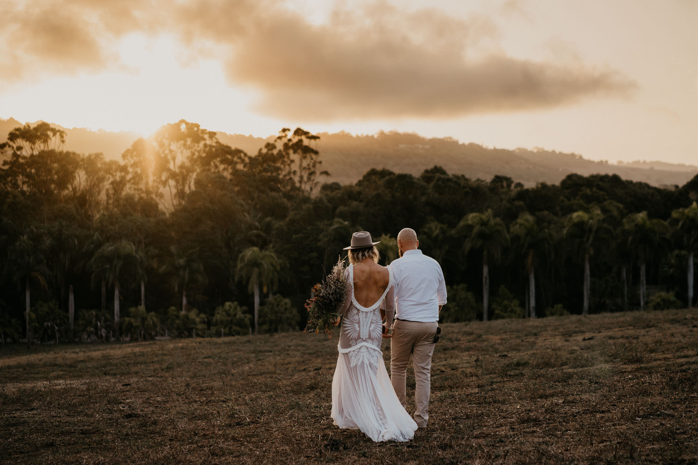 Bride and Groom at sunset in Byron Bay
