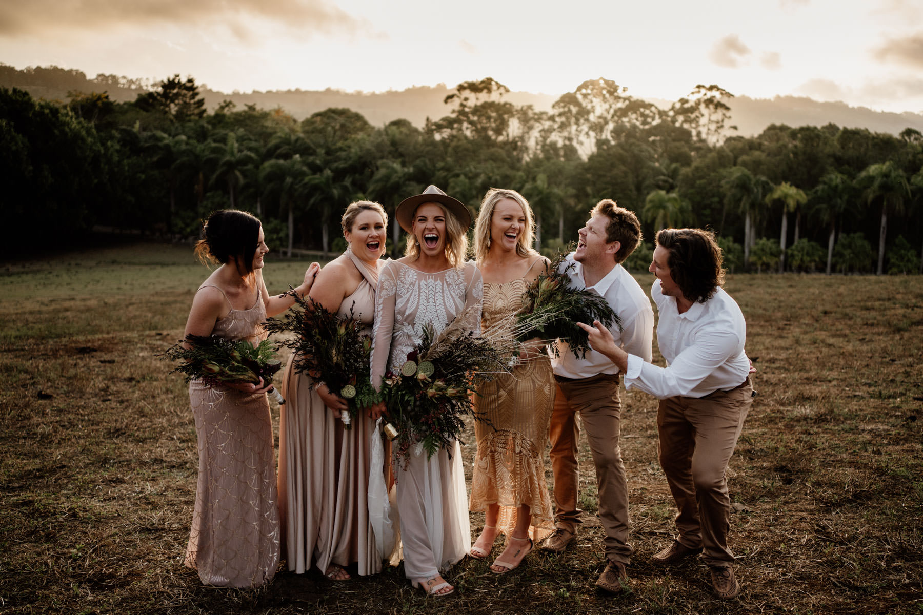 Tooraloo Farm Stay Wedding Byron Bay Bridal Party at Sunset