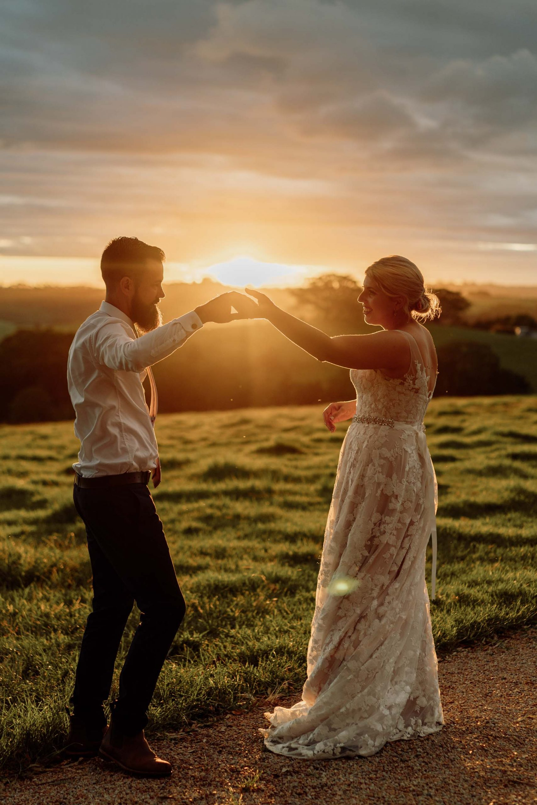 Byron View Farm Sunset Bride and Groom