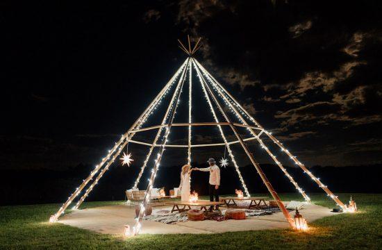 Holly & Matt Orchard Estate Wedding with Tipi at Night